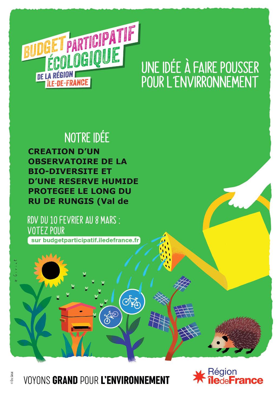 Votez pour le projet de L'ARDEN (Association Rungissoise de Défense de l'Environnement et de la Nature)